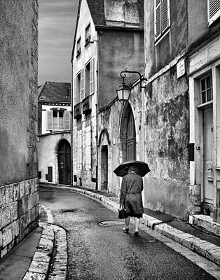 Pluie A Chartres #2 - Black And White Poster