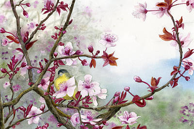 Plum Blossoms Poster by Karen Wright