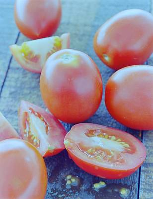 Plum Tomatoes On A Wooden Board Poster
