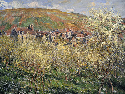 Plum Trees In Blossom At Vetheuil Poster by Claude Monet