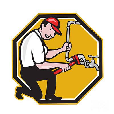 Plumber Repair Faucet Tap Cartoon Poster by Aloysius Patrimonio