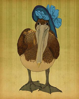 Poster featuring the drawing Plumpskin Ploshkin Pelican Jill by Meg Shearer