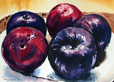 Poster featuring the painting Plums by Joey Agbayani