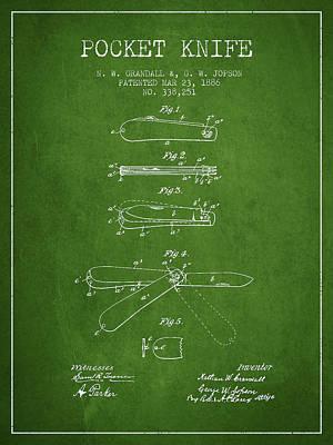 Pocket Knife Patent Drawing From 1886 - Green Poster