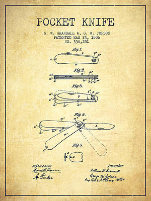 Pocket Knife Patent Drawing From 1886 - Vintage Poster