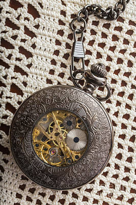 Pocket Watch Over Lace Poster