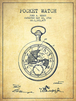 Pocket Watch Patent From 1916 - Vintage Poster