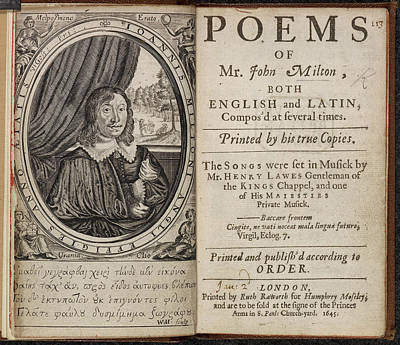 Poems Of Mr John Milton Poster by British Library