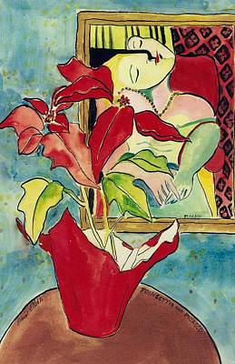 Poinsettia And Picasso Poster by Elaine Elliott