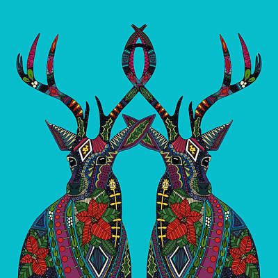Poinsettia Deer Blue Poster
