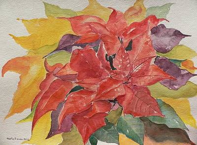 Poster featuring the painting Poinsettias by Geeta Biswas