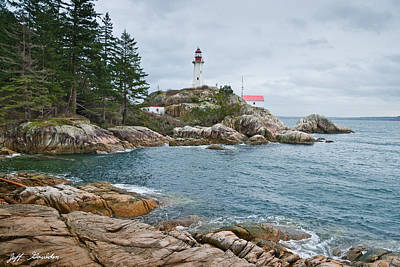Point Atkinson Lighthouse And Rocky Shore Poster by Jeff Goulden