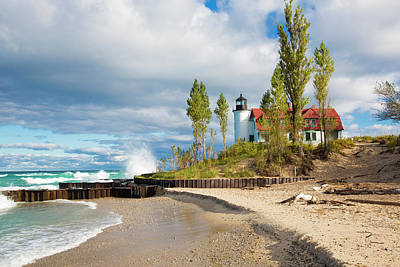 Point Betsie Lighthouse On Lake Poster