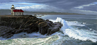 Point Cabrillo Lighthouse With Surf Poster by Paul Krapf