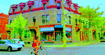 Pointe St Charles Bike Ride Rue Charlevoix Past Friperie Point Couture Street Scene  Carole Spandau Poster