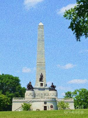 Poster featuring the digital art Pointelisticlincoln's Tomb  by Luther Fine Art