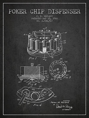 Poker Chip Dispenser Patent From 1962 - Charcoal Poster by Aged Pixel
