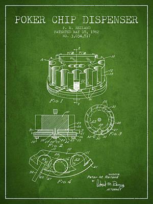 Poker Chip Dispenser Patent From 1962 - Green Poster
