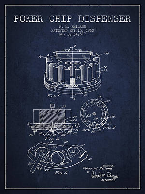 Poker Chip Dispenser Patent From 1962 - Navy Blue Poster by Aged Pixel