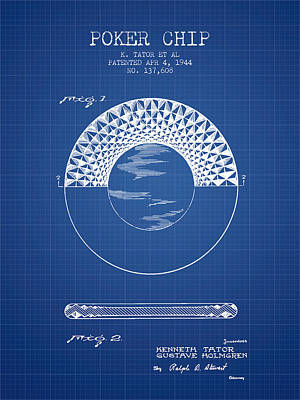 Poker Chip Patent From 1944 - Blueprint Poster by Aged Pixel