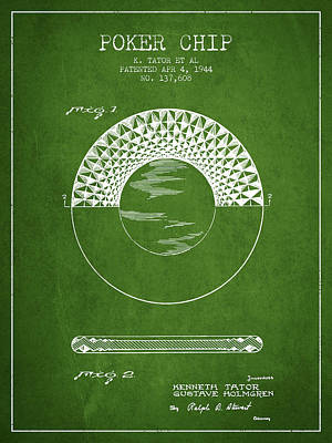Poker Chip Patent From 1944 - Green Poster by Aged Pixel