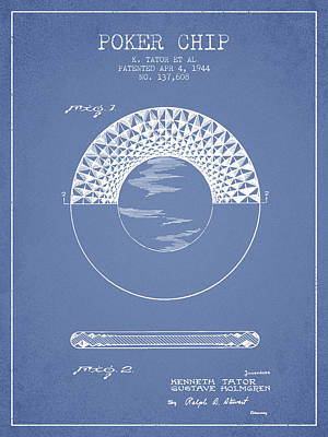 Poker Chip Patent From 1944 - Light Blue Poster by Aged Pixel