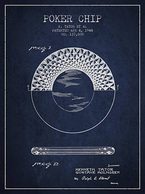 Poker Chip Patent From 1944 - Navy Blue Poster by Aged Pixel