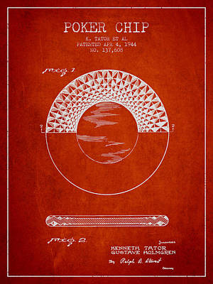 Poker Chip Patent From 1944 - Red Poster