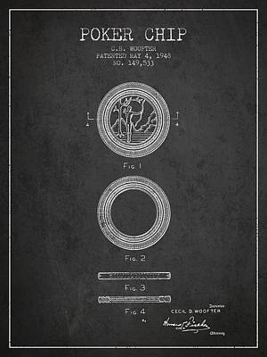 Poker Chip Patent From 1948 - Charcoal Poster by Aged Pixel