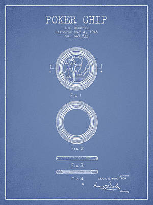 Poker Chip Patent From 1948 - Light Blue Poster by Aged Pixel
