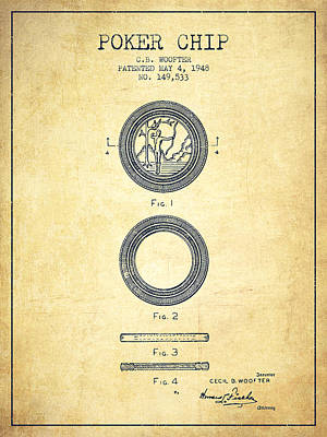 Poker Chip Patent From 1948 - Vintage Poster