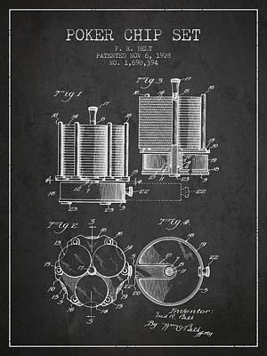 Poker Chip Set Patent From 1928 - Charcoal Poster by Aged Pixel