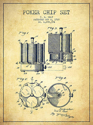 Poker Chip Set Patent From 1928 - Vintage Poster
