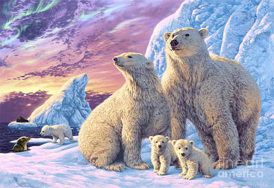 Polar Bear Family Poster by Steve Read