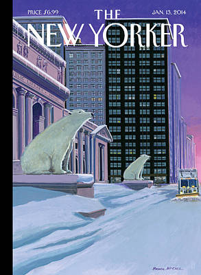 Polar Bears Sit Outside The New York Public Poster by Bruce McCall