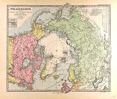 Polar Map  Gotha Justus Perthes 1872 Atlas Poster by English School