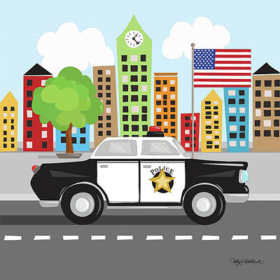 Police Car Poster by Kathy Middlebrook