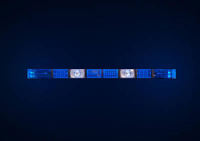 Police Emergency Lights With Blue Surrounding Light Poster by Fizzy Image