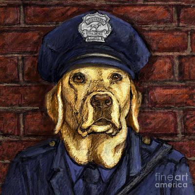 Police Officer Lab - Yellow Labrador Retriever Poster by Kathleen Harte Gilsenan