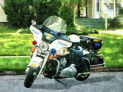 Police - Police Motorcycle Poster by Susan Savad