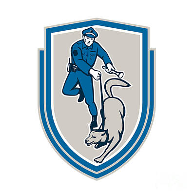Policeman With Police Dog Canine Crest Retro Poster