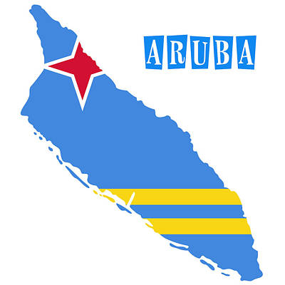 Political Map Of Aruba Poster by Celestial Images