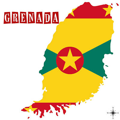 Political Map Of Grenada Poster by Celestial Images