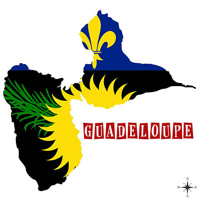 Political Map Of Guadeloupe Poster by Celestial Images