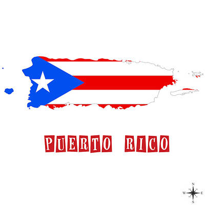 Political Map Of Puerto Rico Poster by Celestial Images