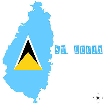 Political Map Of St Lucia Poster by Celestial Images