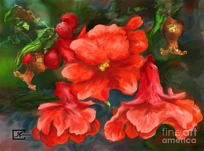 Pomegranate Blooms Floral Painting Poster