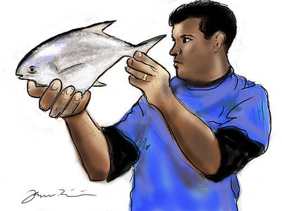 Poster featuring the painting Pompano Catch Of The Day by Jean Pacheco Ravinski