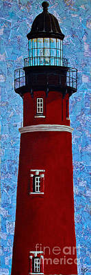 Poster featuring the mixed media Ponce Inlet Lighthouse by Melissa Sherbon