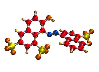 Ponceau Red Food Coloring Molecule Poster by Dr. Mark J. Winter